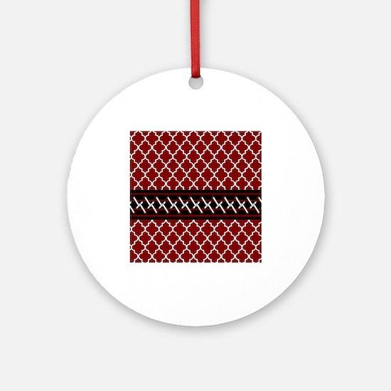 Black Red and White Quatrefoil Ornament (Round)