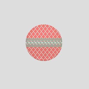 Coral White Mint Quatrefoil Mini Button