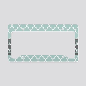 Mint White Gray Moroccan Quat License Plate Holder