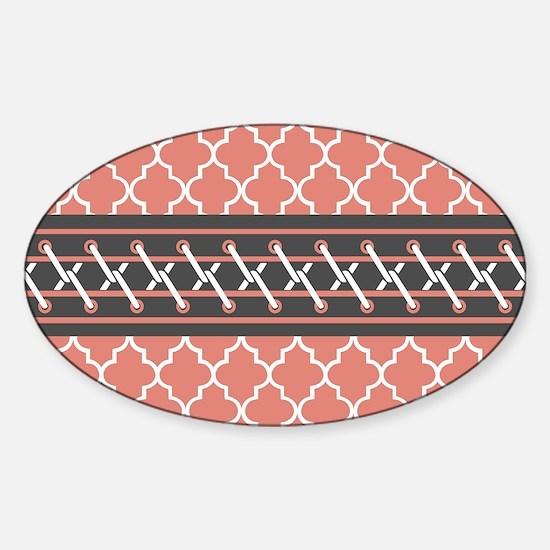 Coral Gray Quatrefoil Pattern Sticker (Oval)