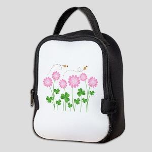 Clover Flowers Bees Neoprene Lunch Bag