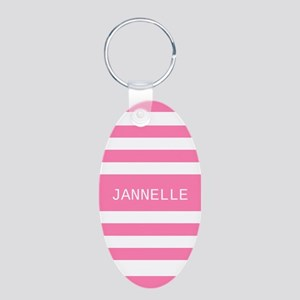 Personalized Pink and White Aluminum Oval Keychain
