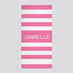 Personalized Pink and White Stripes Beach Towel