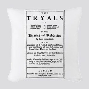 Historical Pirate Trials Woven Throw Pillow