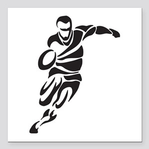 """Rugby Player Square Car Magnet 3"""" x 3"""""""