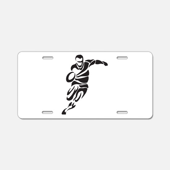 Rugby Player Aluminum License Plate