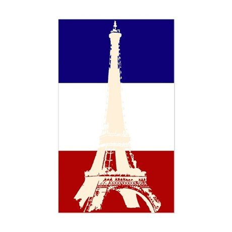Eiffel Tower French Flag Rectangle Sticker