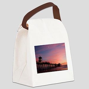 Huntington Beach Sunset Canvas Lunch Bag