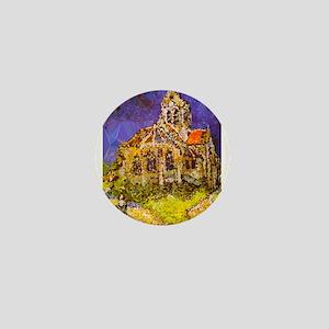 Van Gogh Church Auvers Geometric Mini Button