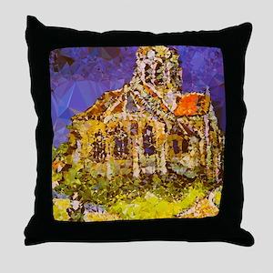 Van Gogh Church Auvers Geometric Throw Pillow