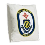 USS JARRETT Burlap Throw Pillow
