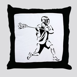 Lacrosse Player Action Throw Pillow