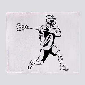 Lacrosse Player Action Throw Blanket