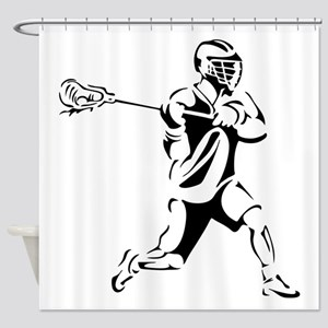 Lacrosse Player Action Shower Curtain