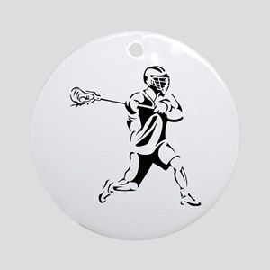 Lacrosse Player Action Round Ornament