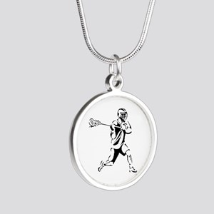 Lacrosse Player Action Silver Round Necklace