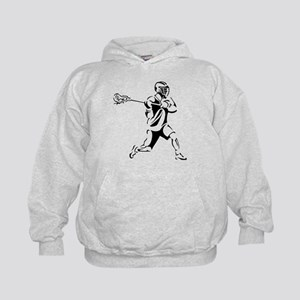 Lacrosse Player Action Kids Hoodie