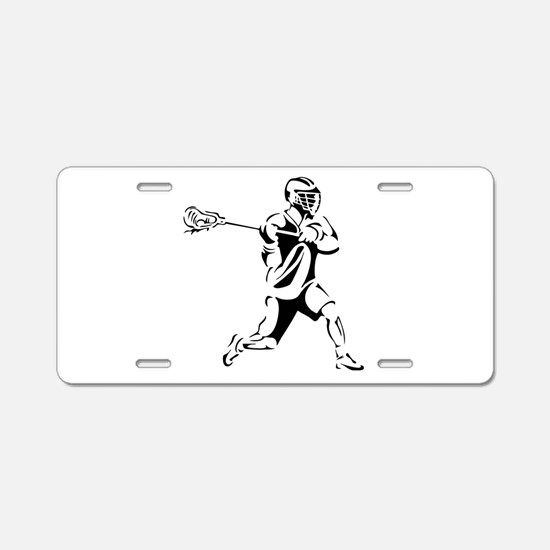 Lacrosse Player Action Aluminum License Plate