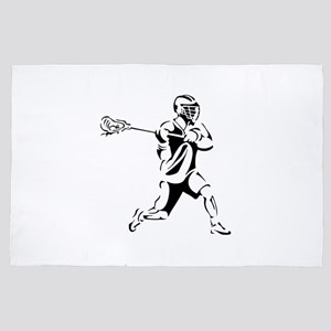 Lacrosse Player Action 4' x 6' Rug
