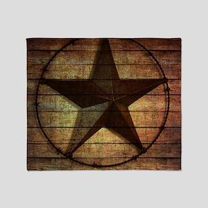 barn wood texas star Throw Blanket