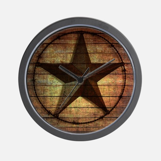 barn wood texas star Wall Clock