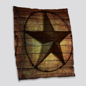 barn wood texas star Burlap Throw Pillow