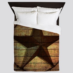 barn wood texas star Queen Duvet