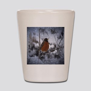nature winter robin bird Shot Glass