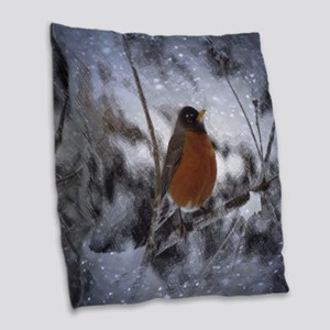 nature winter robin bird Burlap Throw Pillow