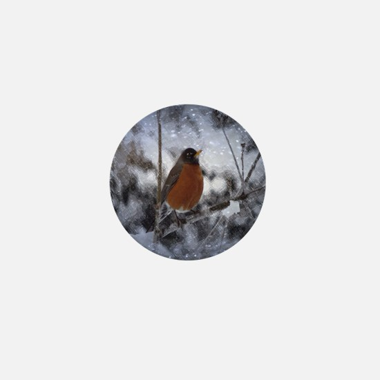 nature winter robin bird Mini Button