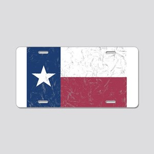 Wrinkled Texas Flag. Aluminum License Plate