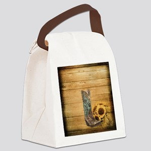western cowboy sunflower Canvas Lunch Bag