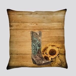 western cowboy sunflower Everyday Pillow