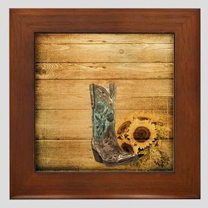western cowboy sunflower Framed Tile