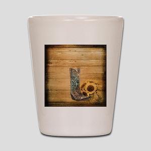 western cowboy sunflower Shot Glass