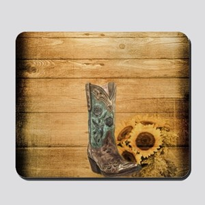 western cowboy sunflower Mousepad