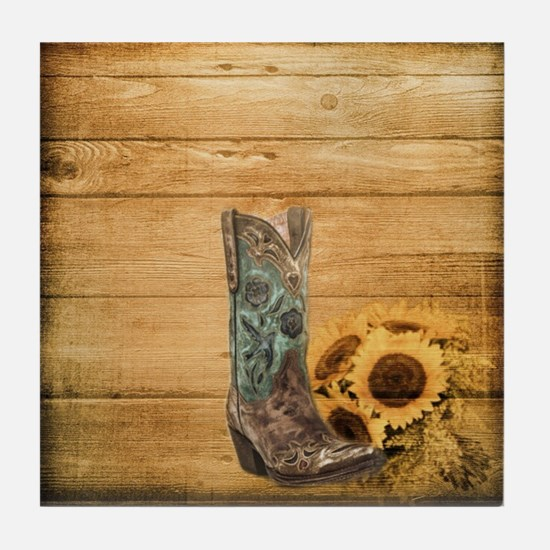 western cowboy sunflower Tile Coaster