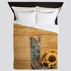 western cowboy sunflower Queen Duvet