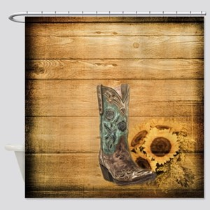 western cowboy sunflower Shower Curtain