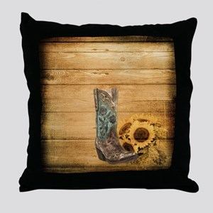 western cowboy sunflower Throw Pillow