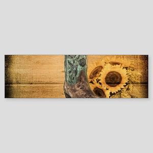 western cowboy sunflower Bumper Sticker