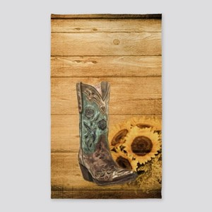 western cowboy sunflower Area Rug
