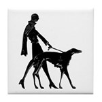 Art Deco Flapper Walking Borzoi Tile Coaster