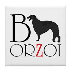 Borzoi Logo Tile Coaster