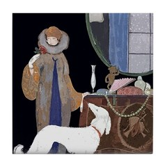 Art Deco White Borzoi Tile Coaster