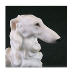 White Borzoi Profile Tile Coaster