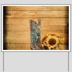 western cowboy sunflower Yard Sign