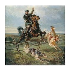 Russian Borzoi Hunt Tile Coaster