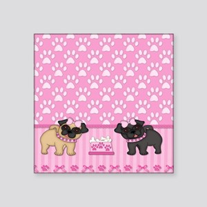 "Pug Cuties Pink Stripes and Square Sticker 3"" x 3"""
