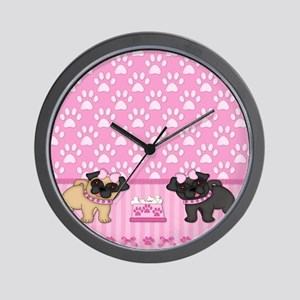 Pug Cuties Pink Stripes and Paws Wall Clock